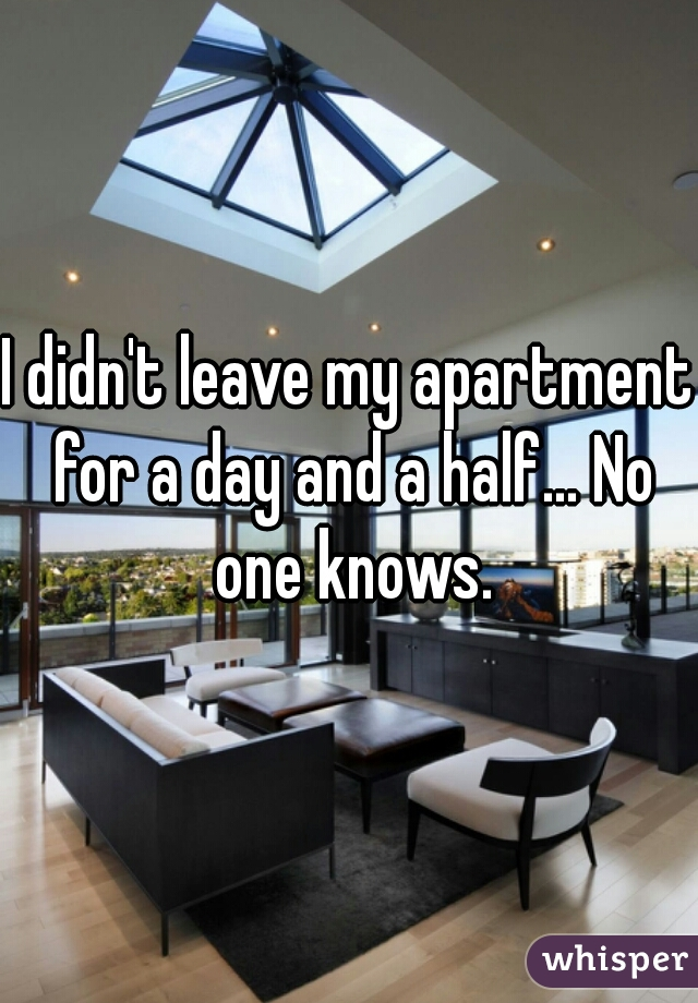 I didn't leave my apartment for a day and a half... No one knows.