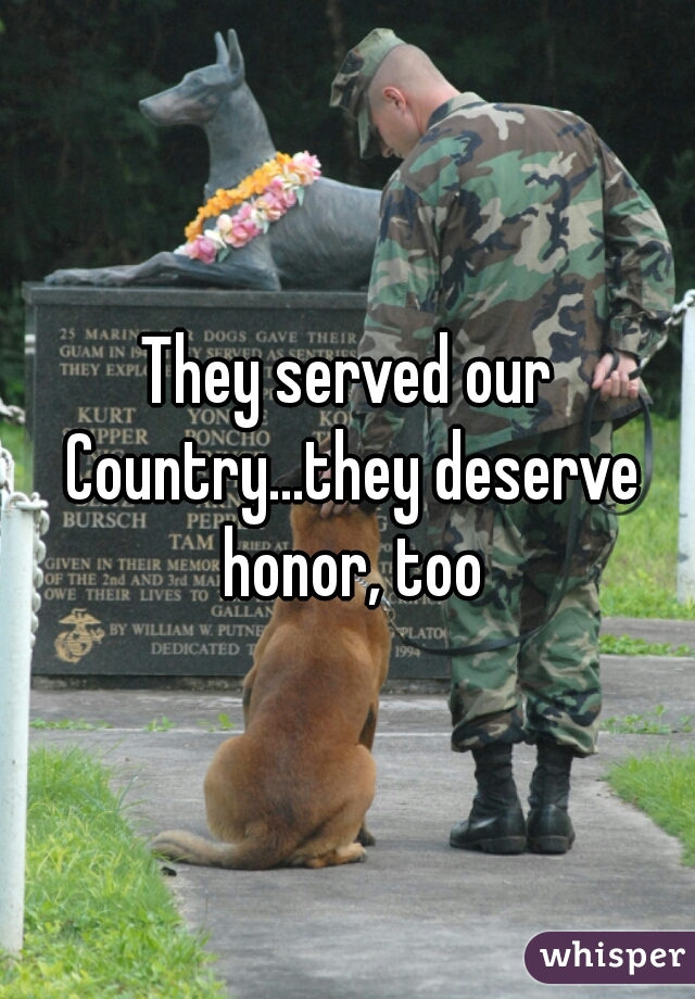 They served our Country...they deserve honor, too