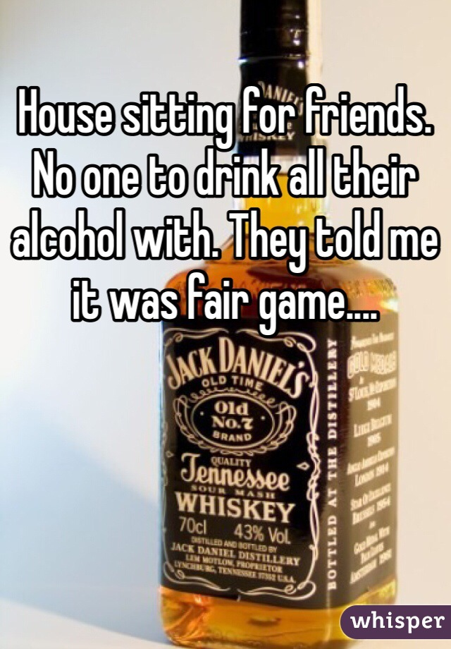 House sitting for friends. No one to drink all their alcohol with. They told me it was fair game....