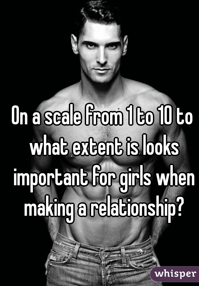On a scale from 1 to 10 to what extent is looks important for girls when making a relationship?
