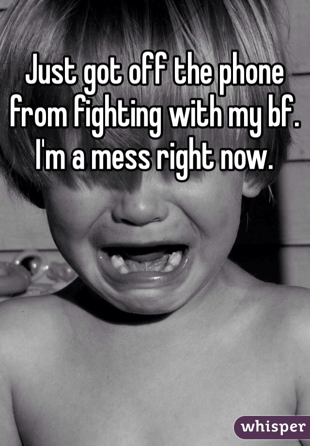 Just got off the phone from fighting with my bf.  I'm a mess right now.