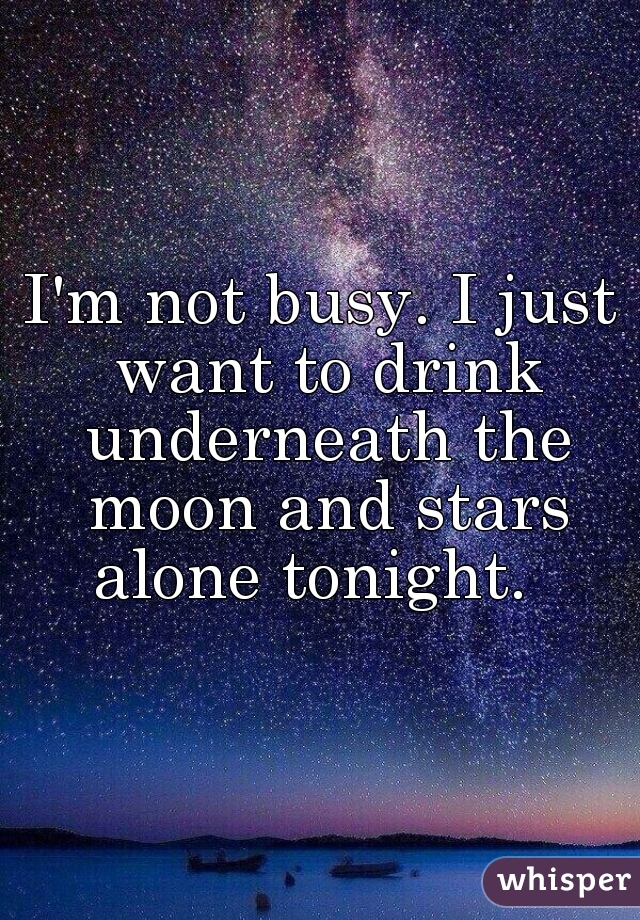I'm not busy. I just want to drink underneath the moon and stars alone tonight.