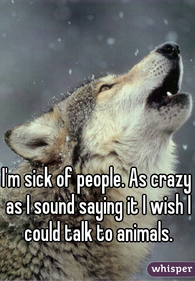 I'm sick of people. As crazy as I sound saying it I wish I could talk to animals.