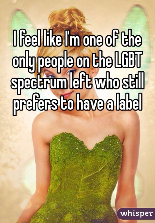I feel like I'm one of the only people on the LGBT spectrum left who still prefers to have a label