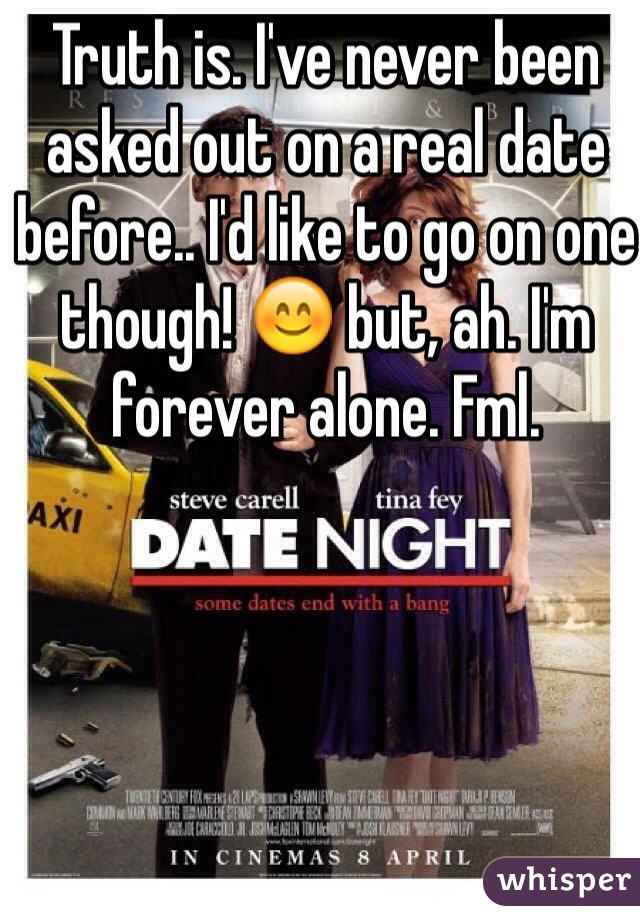 Truth is. I've never been asked out on a real date before.. I'd like to go on one though! 😊 but, ah. I'm forever alone. Fml.
