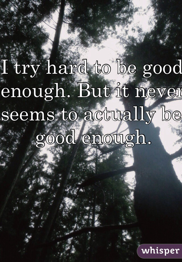 I try hard to be good enough. But it never seems to actually be good enough.