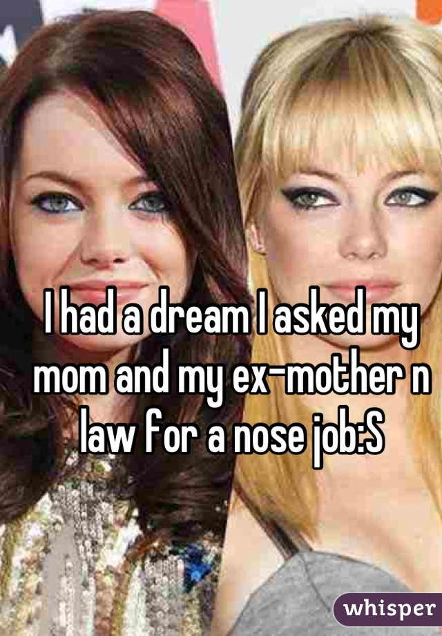 I had a dream I asked my mom and my ex-mother n law for a nose job:S