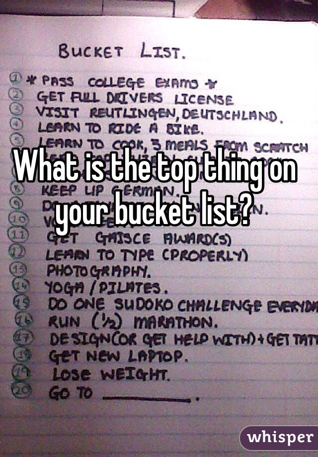 What is the top thing on your bucket list?
