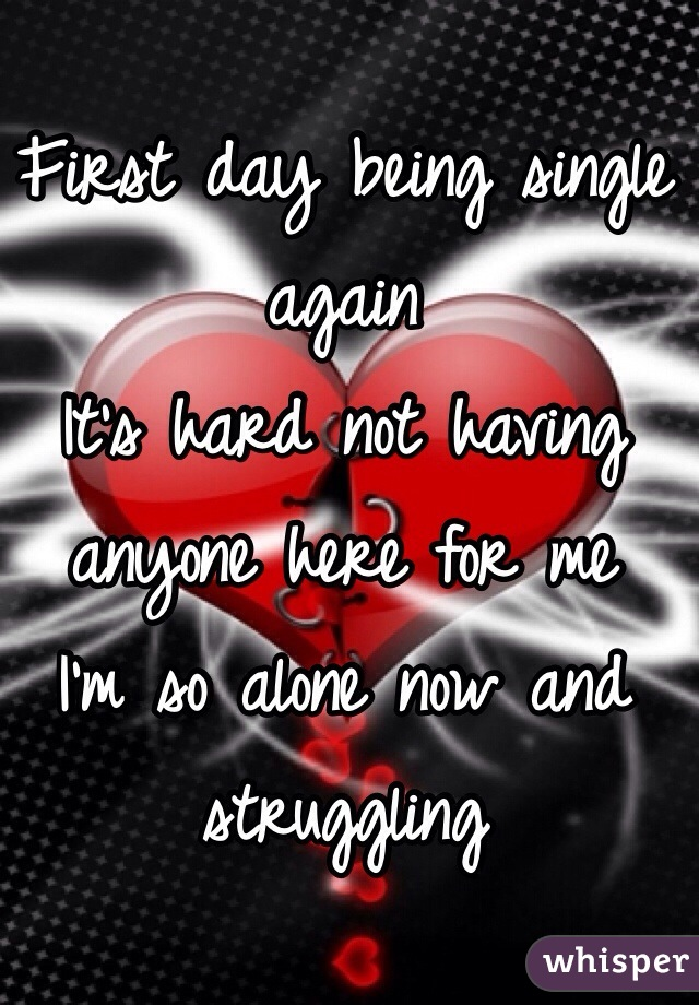 First day being single again It's hard not having anyone here for me  I'm so alone now and struggling
