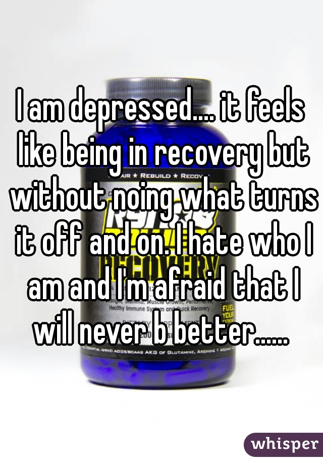 I am depressed.... it feels like being in recovery but without noing what turns it off and on. I hate who I am and I'm afraid that I will never b better......