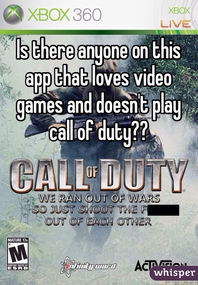 Is there anyone on this app that loves video games and doesn't play call of duty??