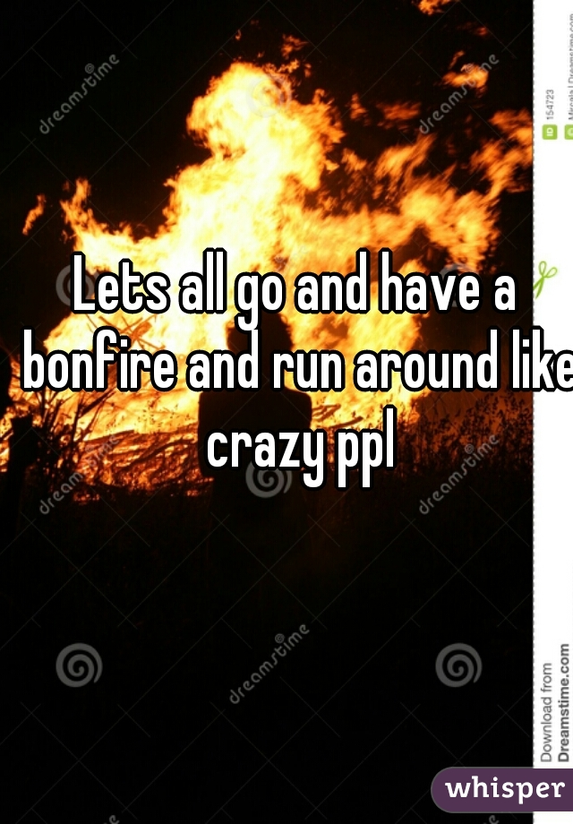 Lets all go and have a bonfire and run around like crazy ppl