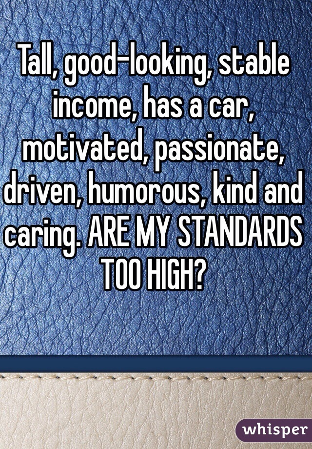 Tall, good-looking, stable income, has a car, motivated, passionate, driven, humorous, kind and caring. ARE MY STANDARDS TOO HIGH?