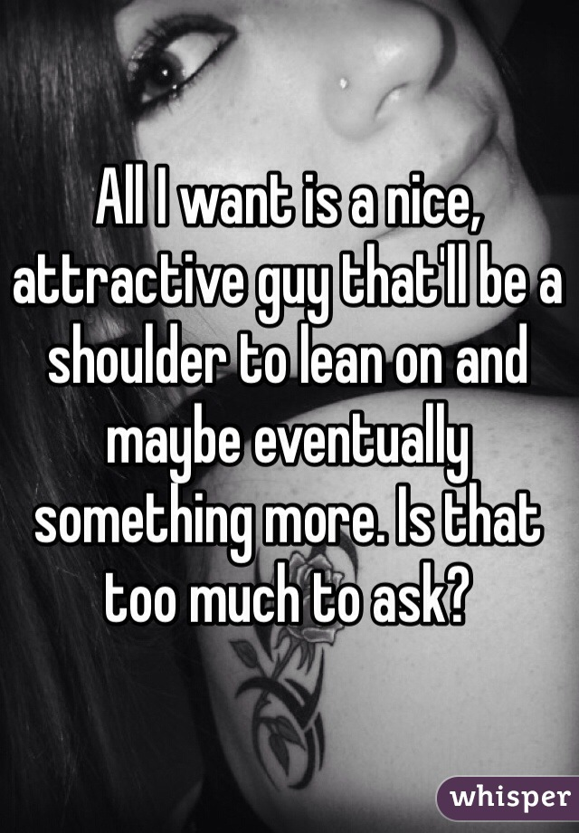 All I want is a nice, attractive guy that'll be a shoulder to lean on and maybe eventually something more. Is that too much to ask?