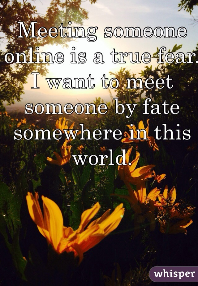 Meeting someone online is a true fear. I want to meet someone by fate somewhere in this world.