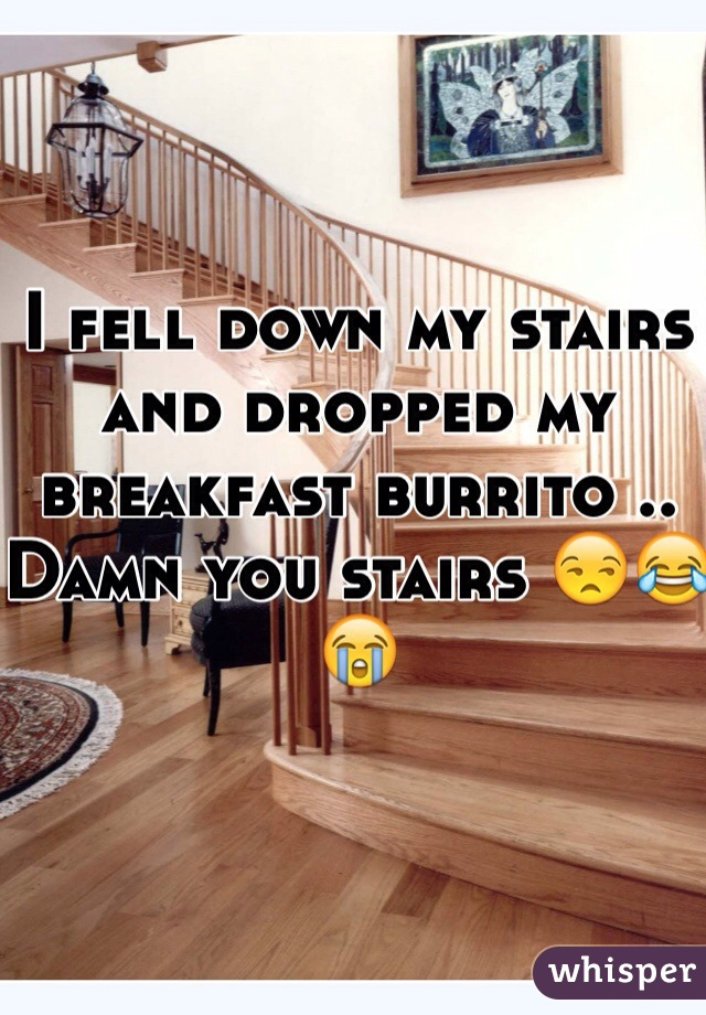 I fell down my stairs and dropped my breakfast burrito .. Damn you stairs 😒😂😭