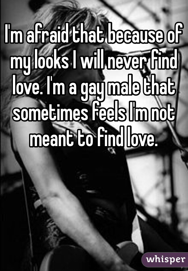 I'm afraid that because of my looks I will never find love. I'm a gay male that sometimes feels I'm not meant to find love.