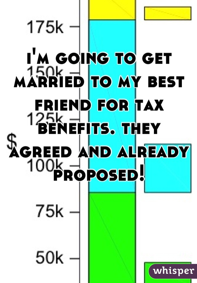 i'm going to get married to my best friend for tax benefits. they agreed and already proposed!