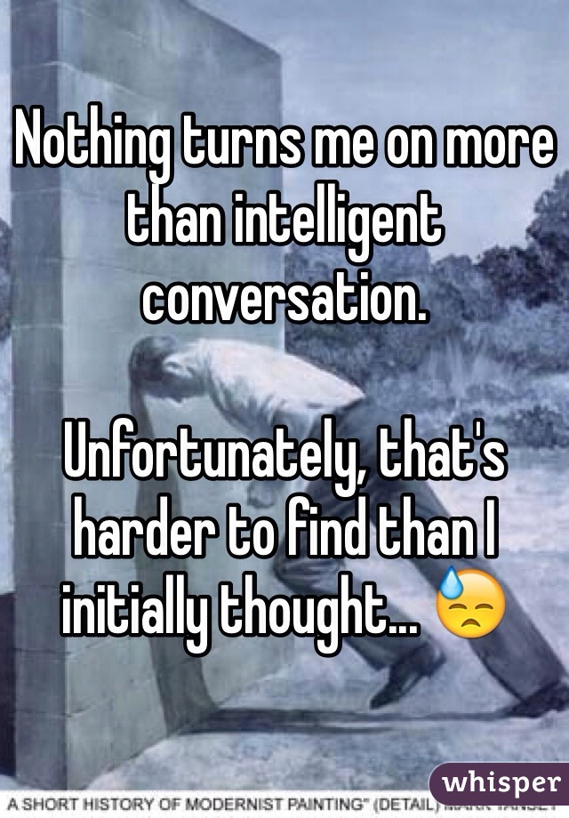 Nothing turns me on more than intelligent conversation.  Unfortunately, that's harder to find than I initially thought... 😓