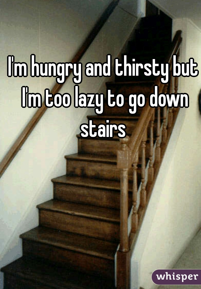 I'm hungry and thirsty but I'm too lazy to go down stairs