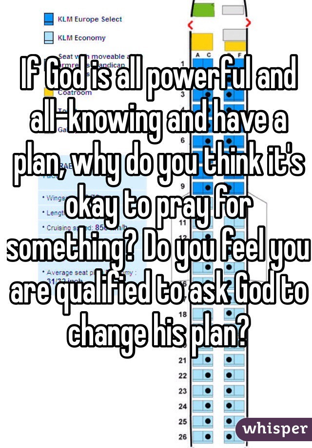 If God is all powerful and all-knowing and have a plan, why do you think it's okay to pray for something? Do you feel you are qualified to ask God to change his plan?
