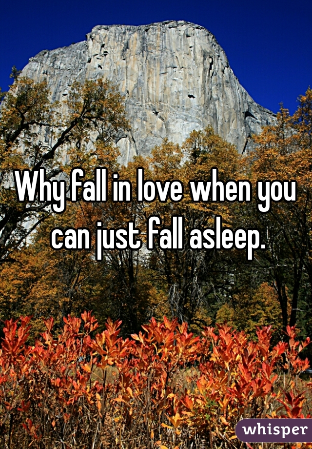 Why fall in love when you can just fall asleep.