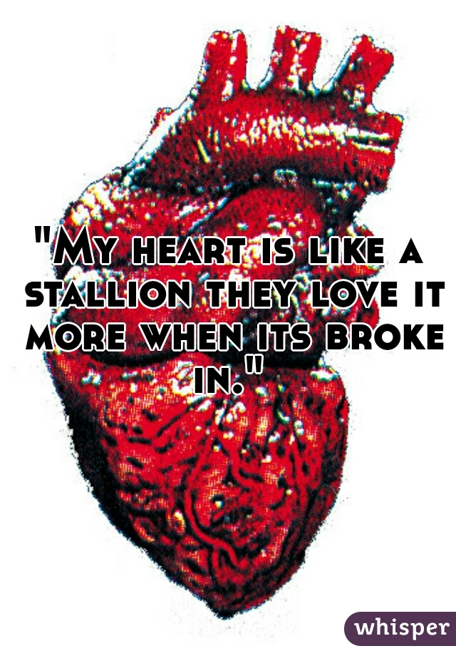 """""""My heart is like a stallion they love it more when its broke in."""""""
