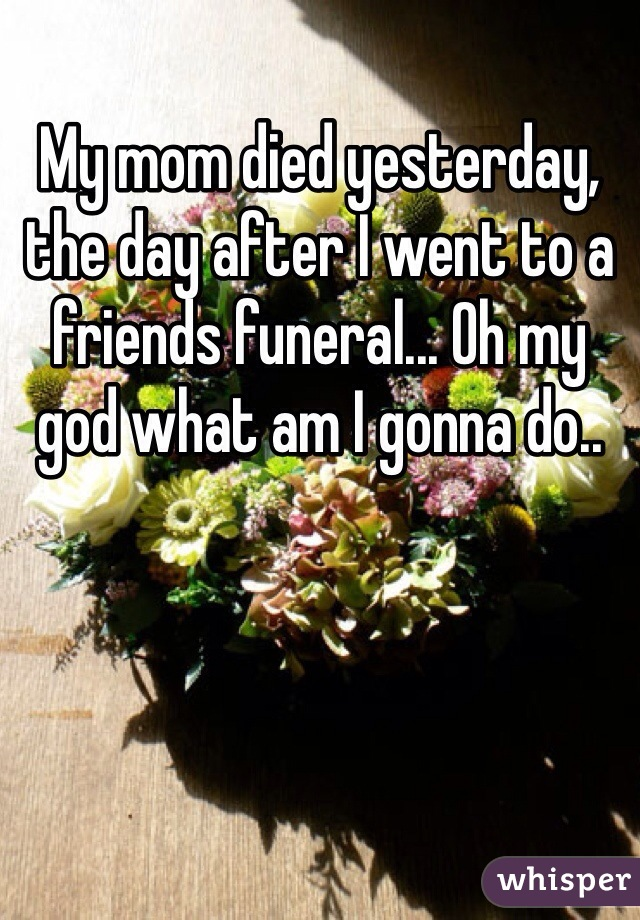 My mom died yesterday, the day after I went to a friends funeral... Oh my god what am I gonna do..