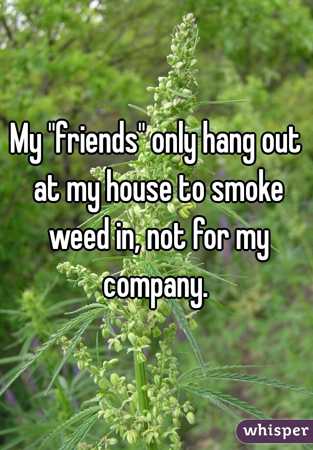 """My """"friends"""" only hang out at my house to smoke weed in, not for my company."""