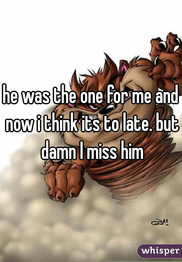 he was the one for me and now i think its to late. but damn I miss him