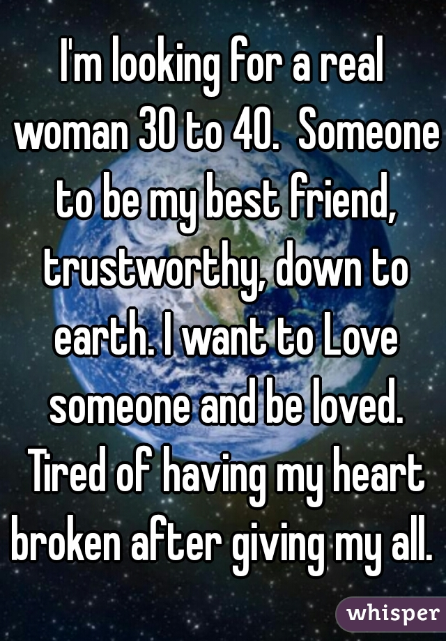 I'm looking for a real woman 30 to 40.  Someone to be my best friend, trustworthy, down to earth. I want to Love someone and be loved. Tired of having my heart broken after giving my all.