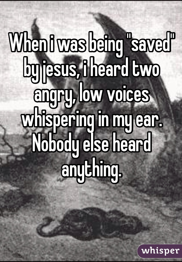 """When i was being """"saved"""" by jesus, i heard two angry, low voices whispering in my ear. Nobody else heard anything."""