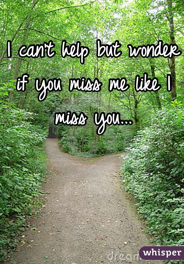 I can't help but wonder if you miss me like I miss you...