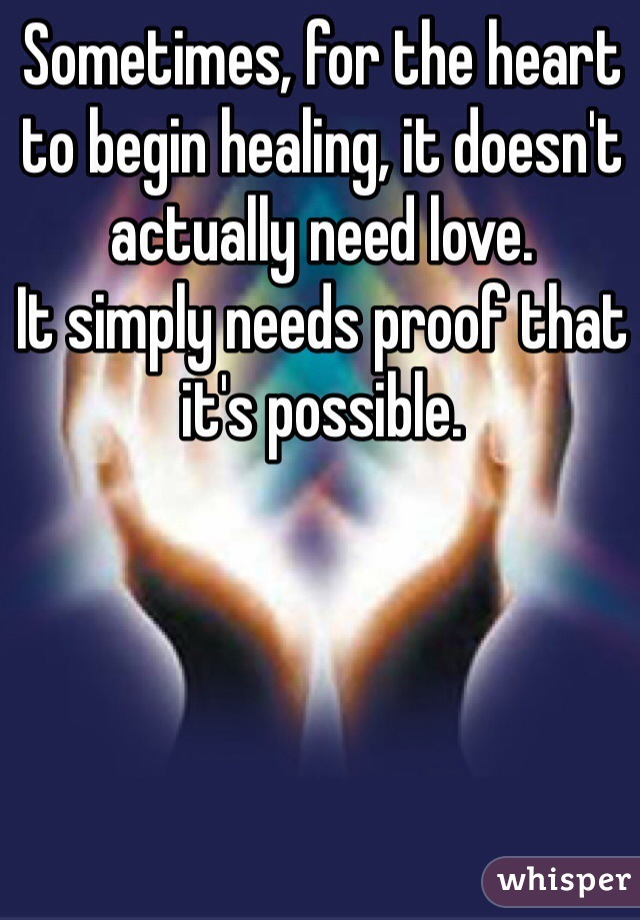 Sometimes, for the heart to begin healing, it doesn't actually need love. It simply needs proof that it's possible.