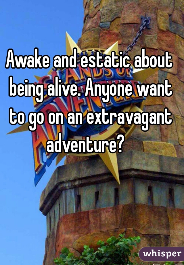 Awake and estatic about being alive. Anyone want to go on an extravagant adventure?
