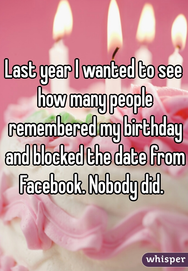 Last year I wanted to see how many people remembered my birthday and blocked the date from Facebook. Nobody did.
