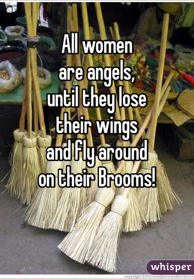 All women are angels, until they lose their wings and fly around on their Brooms!