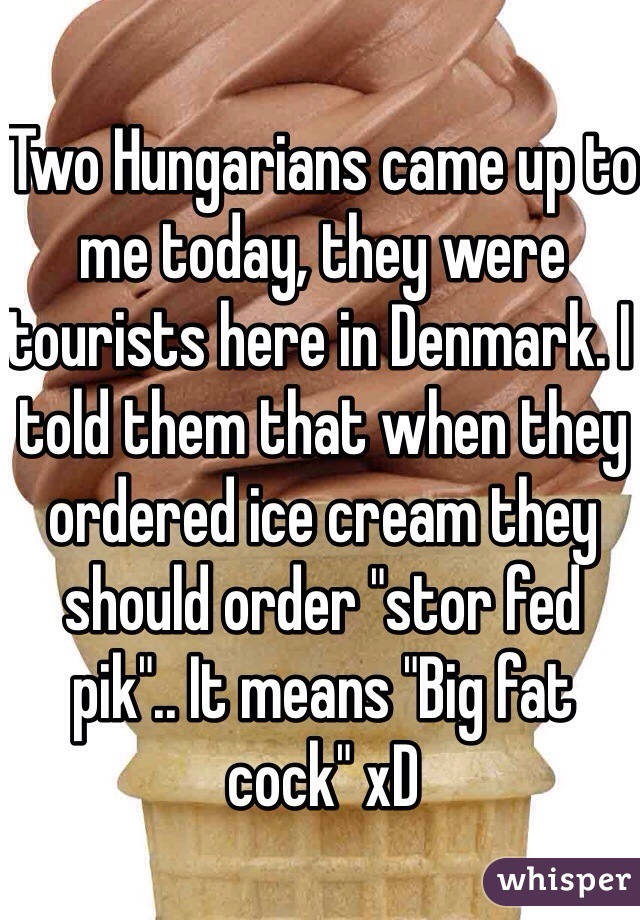 """Two Hungarians came up to me today, they were tourists here in Denmark. I told them that when they ordered ice cream they should order """"stor fed pik"""".. It means """"Big fat cock"""" xD"""