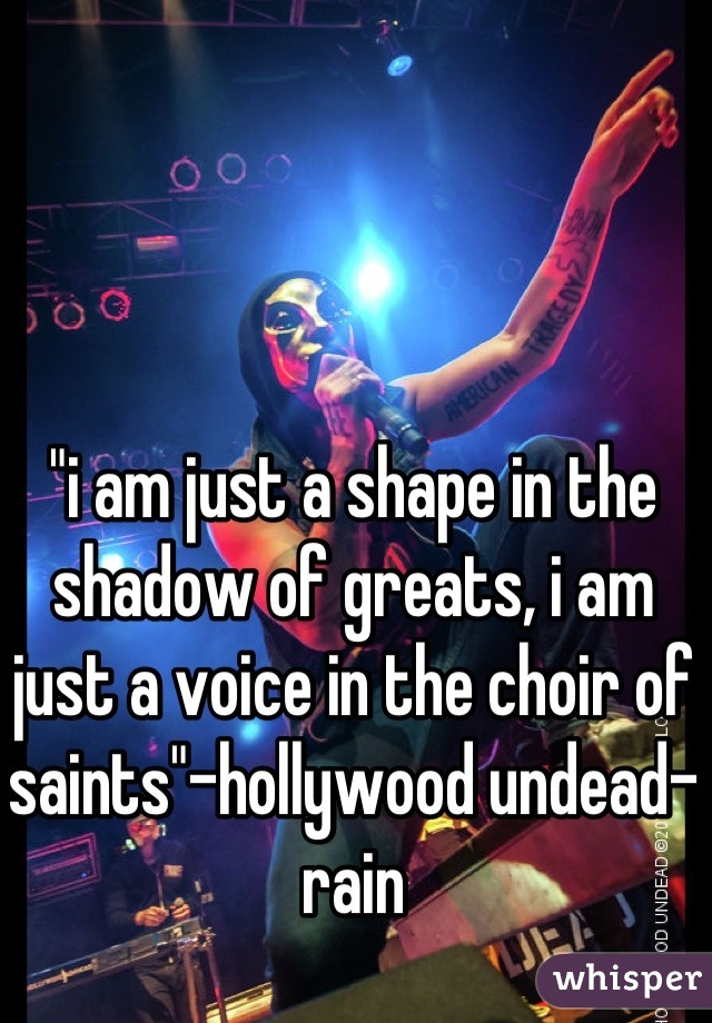 i am just a shape in the shadow of greats, i am just a voice in