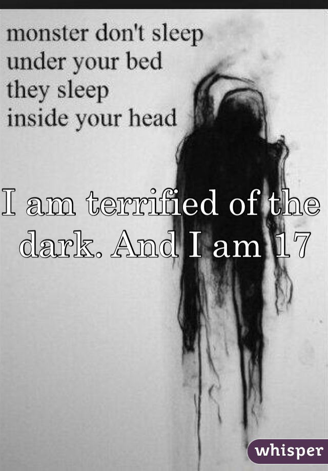 I am terrified of the dark. And I am 17