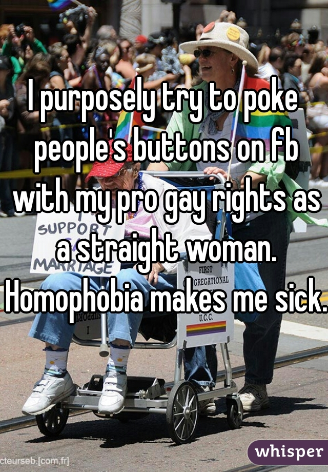 I purposely try to poke people's buttons on fb with my pro gay rights as a straight woman. Homophobia makes me sick.