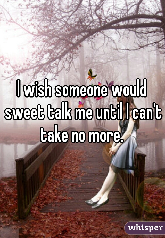 I wish someone would sweet talk me until I can't take no more.