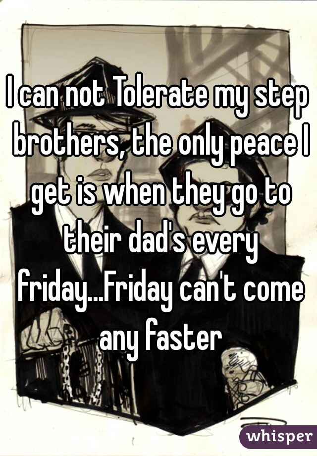 I can not Tolerate my step brothers, the only peace I get is when they go to their dad's every friday...Friday can't come any faster
