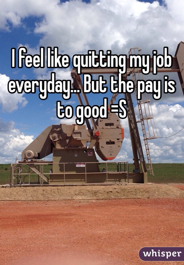 I feel like quitting my job everyday... But the pay is to good =S