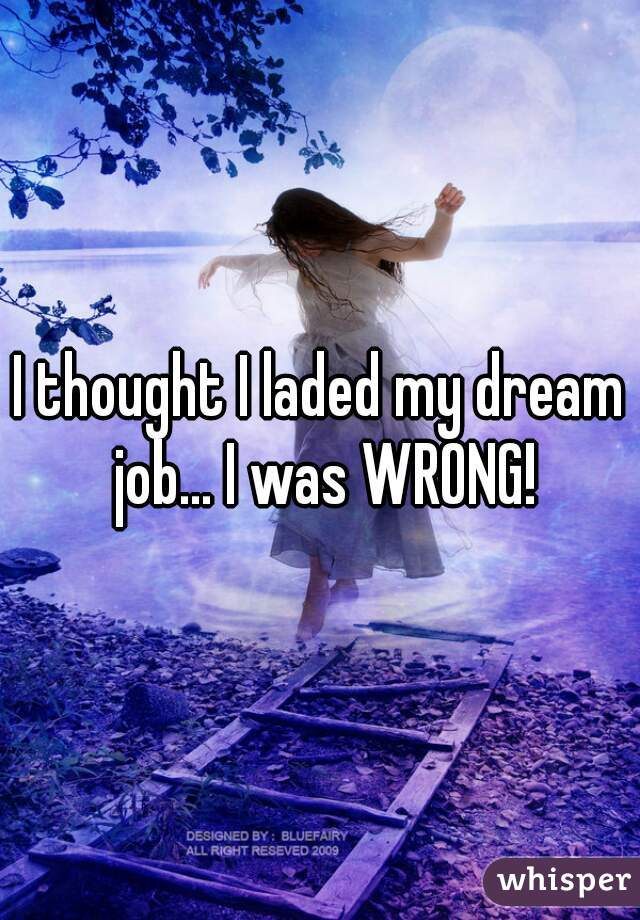 I thought I laded my dream job... I was WRONG!