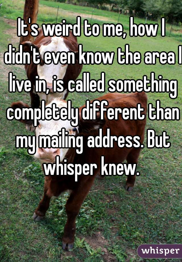 It's weird to me, how I didn't even know the area I live in, is called something completely different than my mailing address. But whisper knew.