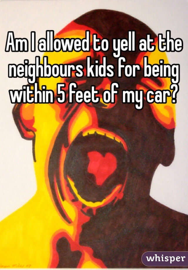 Am I allowed to yell at the neighbours kids for being within 5 feet of my car?