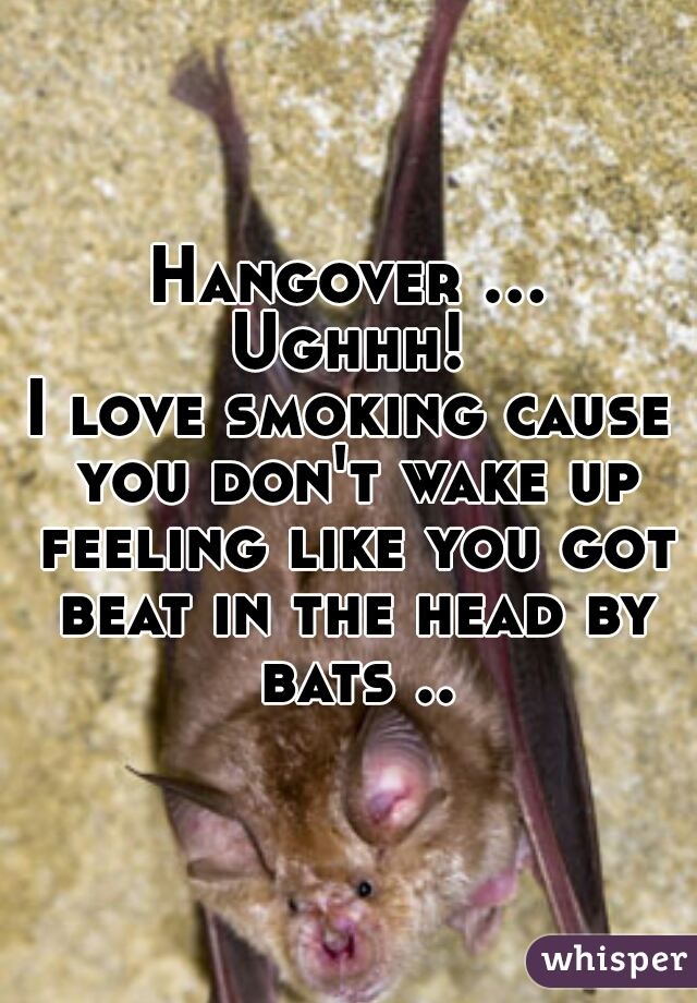Hangover ... Ughhh!  I love smoking cause you don't wake up feeling like you got beat in the head by bats ..