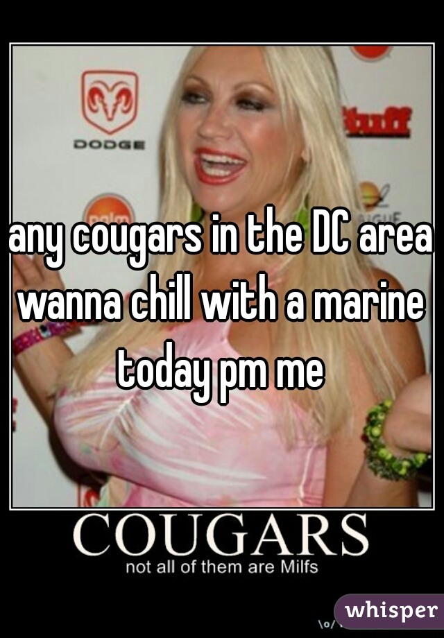 any cougars in the DC area wanna chill with a marine p today pm me