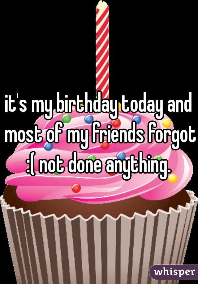 it's my birthday today and most of my friends forgot :( not done anything.